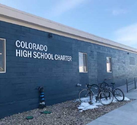 Exterior of Colorado High School Charter (Photo by Aziza Halpern Sandoval)