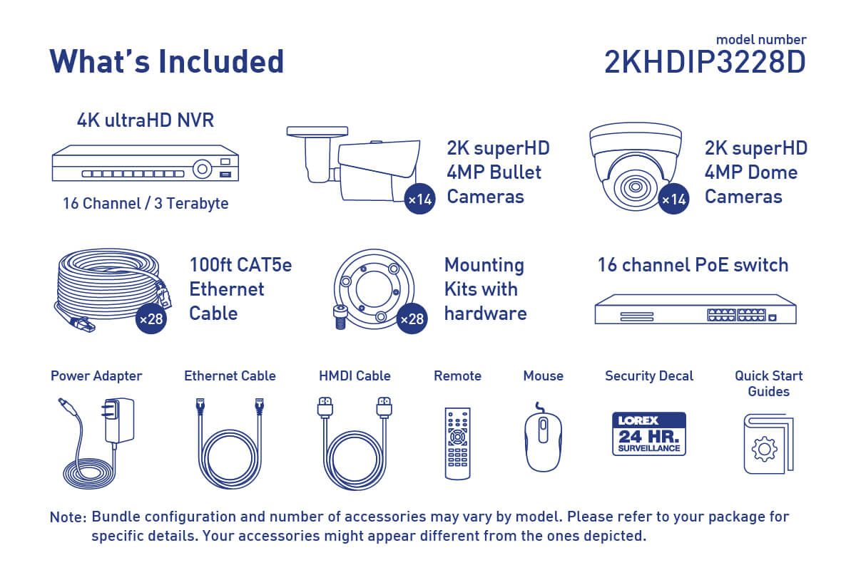 hight resolution of 2k ip security camera system with 28 outdoor cameras
