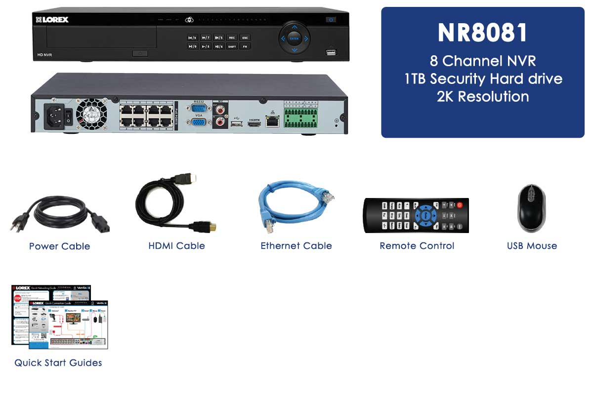 hight resolution of 2k security system nvr 8 channel