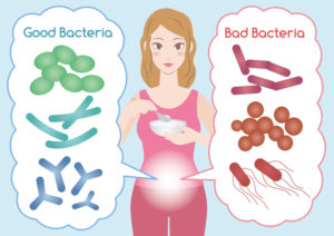 Young woman eats yogurt for her gut microbiome to build up the good microbiota against the bad microbiota