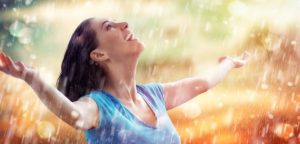 Woman has joy because bipolar disorder : IV ketamine treatment.