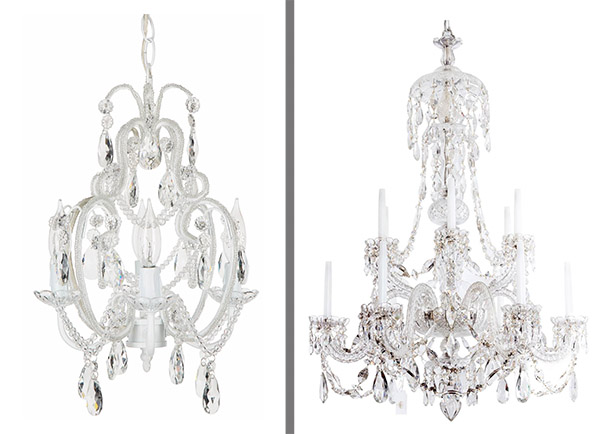 For Example: You Could Spend $150 For The Chandelier On The Left, Or  $40,000 For The 1850 Victorian English Crystal Chandelier On The Right.