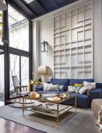 living-room-blue-sofa-lattice-wall-art-cococozy | LORI DENNIS