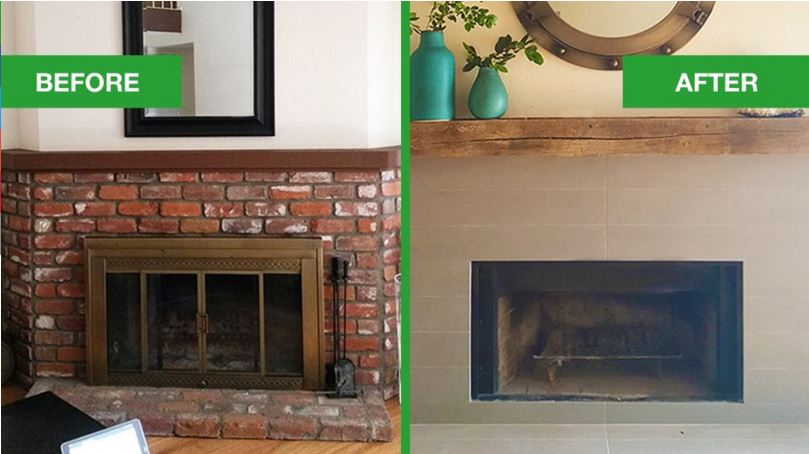 Lori Dennis Fireplace Mantel Makeover Before After