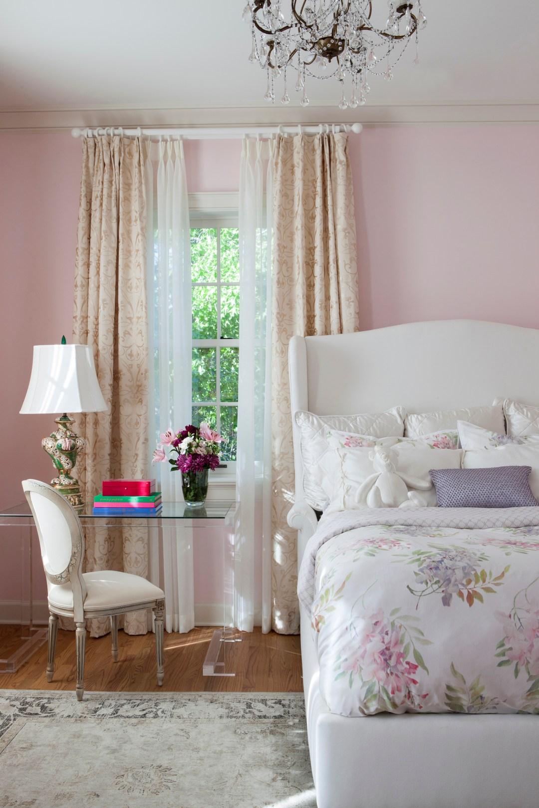 pink pastel french inspired bedroom design by celebrity interior designer Lori Dennis in Los Angeles
