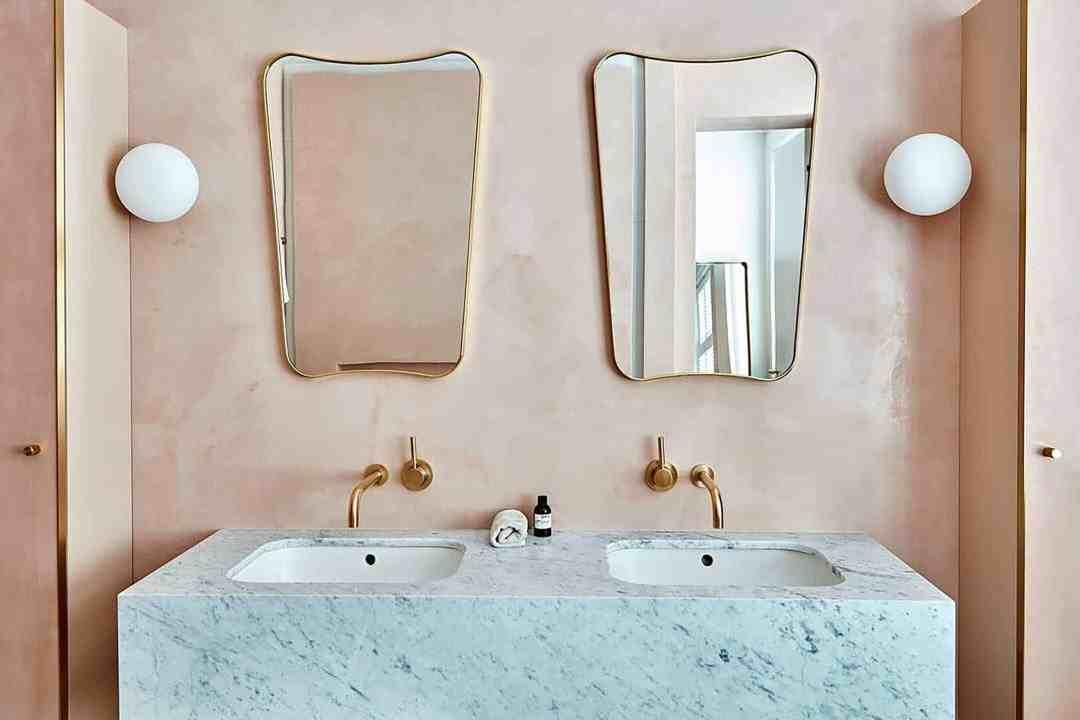 Peach Pink Limewash Bathroom Wall