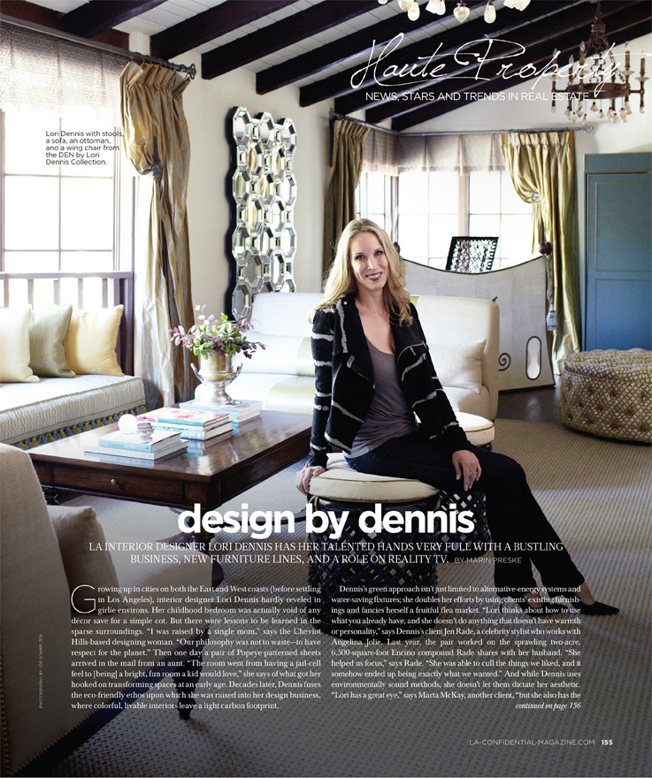 Celebrity Los Angeles Interior Designer Lori Dennis Los Angeles Confidential November, 2011
