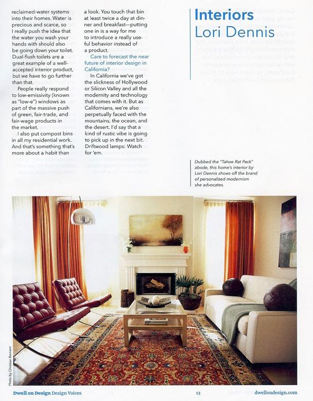 Celebrity Los Angeles Interior Designer Lori Dennis Dwell Magazine June 2010
