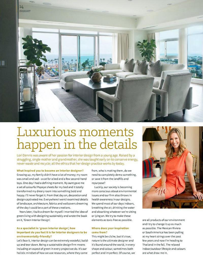 Celebrity Los Angeles Interior Designer Lori Dennis Los Angeles INEX - Luxurious Moments Happen in the Details