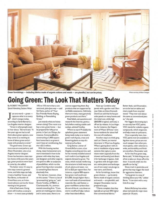 Celebrity Los Angeles Interior Designer Lori Dennis Los Angeles Times June, 2009