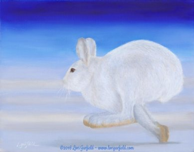 "Paintings by Lori Garfield : Arctic Hare, 14"" x 11"" Original Oil Painting of an arctic hare running on snow with a bright blue sky by artist Lori Garfield, Medford Oregon"