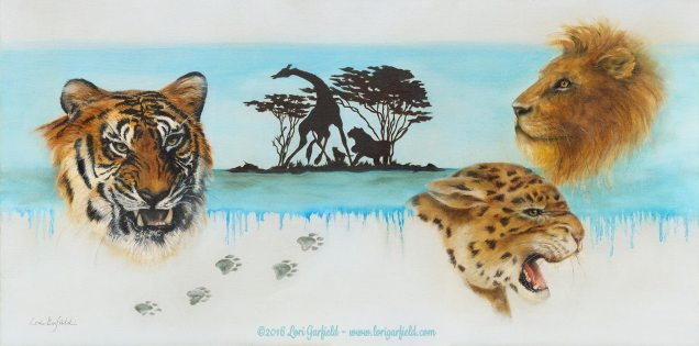 """Paintings by Lori Garfield : Endangered, 30"""" x 15"""" Original Oil Painting composed of a montage of big cats - head studies of a tiger, cheetah and lion, with paw prints and background of an African scene in silhouette, by artist Lori Garfield, Medford Oregon"""