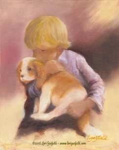 "Paintings by Lori Garfield : Puppy Love...A Study, 8"" x 10"" Original Oil Painting of a boy and his puppy by artist Lori Garfield, Medford Oregon"