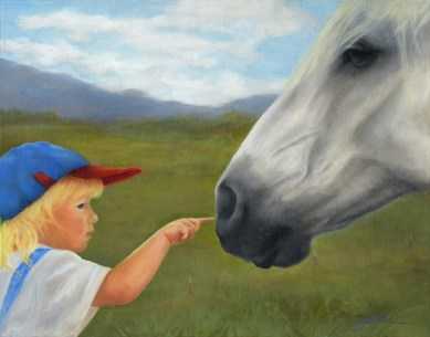 Paintings by Lori Garfield : Getting Acquainted, Original Oil Painting by artist Lori Garfield, Medford Oregon