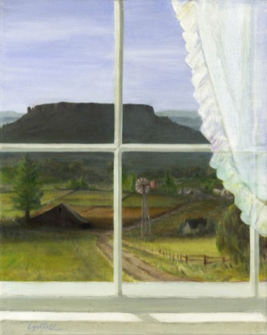 Paintings by Lori Garfield : Through the Window, painting of a southern Oregon landscape with Table rock, viewed through a window. Original Oil Painting by artist Lori Garfield, Medford Oregon