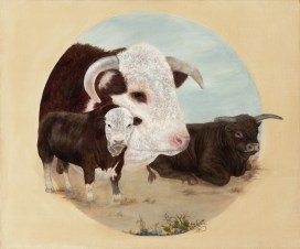 Paintings by Lori Garfield : The Bulls, painting of bulls of three different breeds. Original Oil Painting by artist Lori Garfield, Medford Oregon