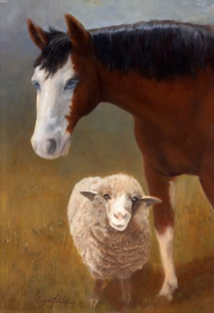 Paintings by Lori Garfield : Chloe & Halo, portrait of a blind horse and its sheep companion. Original Oil Painting by artist Lori Garfield, Medford Oregon