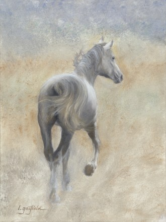 Paintings by Lori Garfield : Morning Romp, painting of a horse running from behind. Original Oil Painting by artist Lori Garfield, Medford Oregon