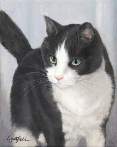 Commission pet portraits : Sampson, pet portrait of a black and white pet cat. Original Oil Painting by artist Lori Garfield, Medford Oregon