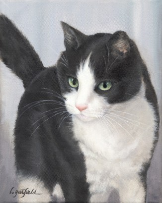 Paintings by Lori Garfield : Sampson, pet portrait of a black and white pet cat. Original Oil Painting by artist Lori Garfield, Medford Oregon