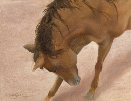Paintings by Lori Garfield : Small Itch, painting of a horse rubbing it face on foreleg. Original Oil Painting by artist Lori Garfield, Medford Oregon