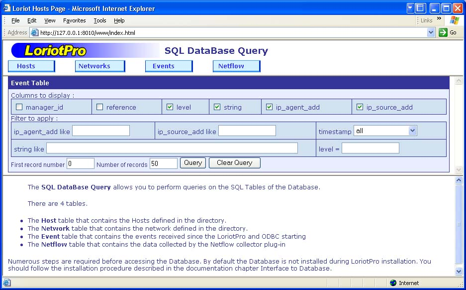 Database Query tool