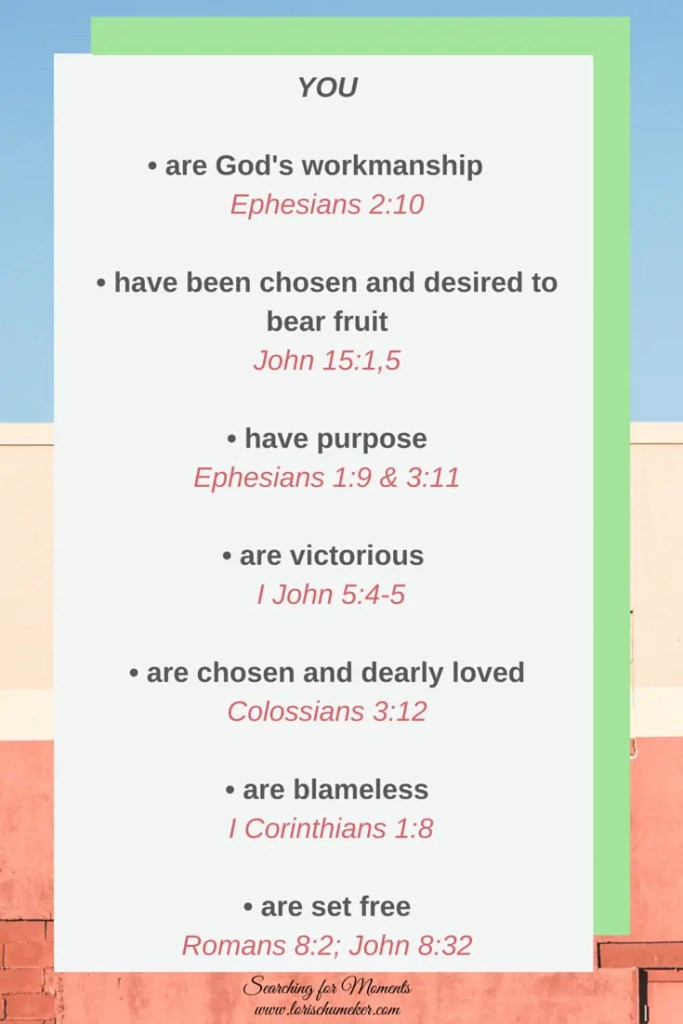 Scriptures to remind you who you are in Christ! He specifically designed you with purpose and nothing in this world can cancel out that Truth! Encouragement to embrace your worth and let go of the dysfunction of your past