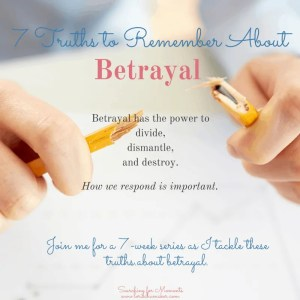 7 Truths to Remember When Betrayal Invades Your Life | Series | encouragement, strategies, resources by Lori Schumaker