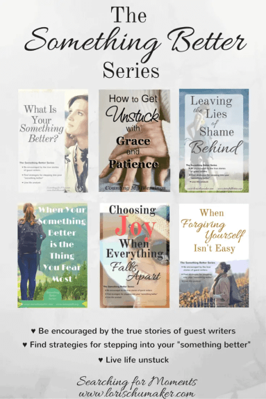 The Something Better Series by Lori Schumaker - A series of 6 posts written by courageous women who have stepped out of pain and dysfunction and into their something better.The Something Better Series by Lori Schumaker - A series of 6 posts written by courageous women who have stepped out of pain and dysfunction and into their something better. In this series you will find tips, strategies, and hope as you step toward your something better!