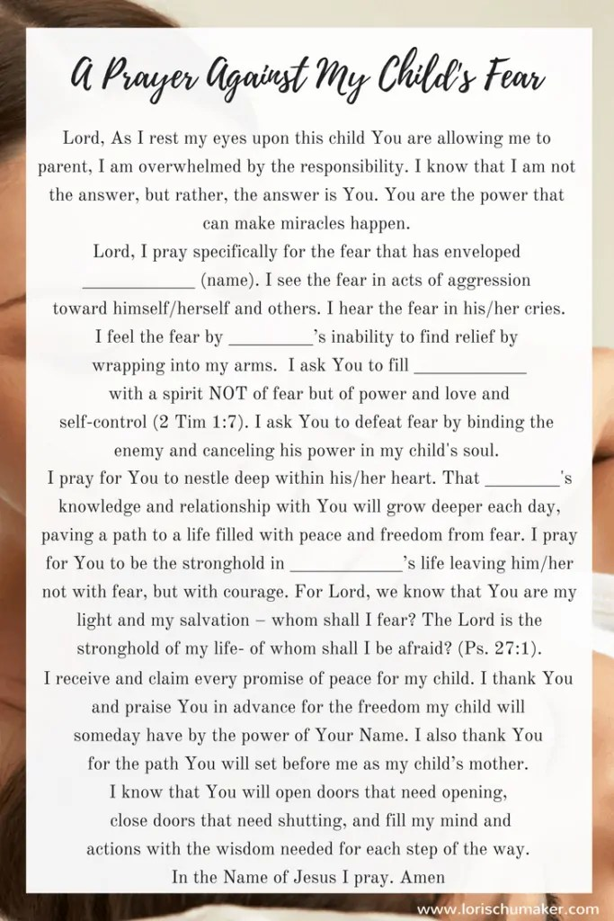 A Prayer Against My Child's Fear - When we can't seem to find the words ourselves to reach out to the Father, sometimes we just need something to give us a start. Lori Schumaker #MomentsofHope