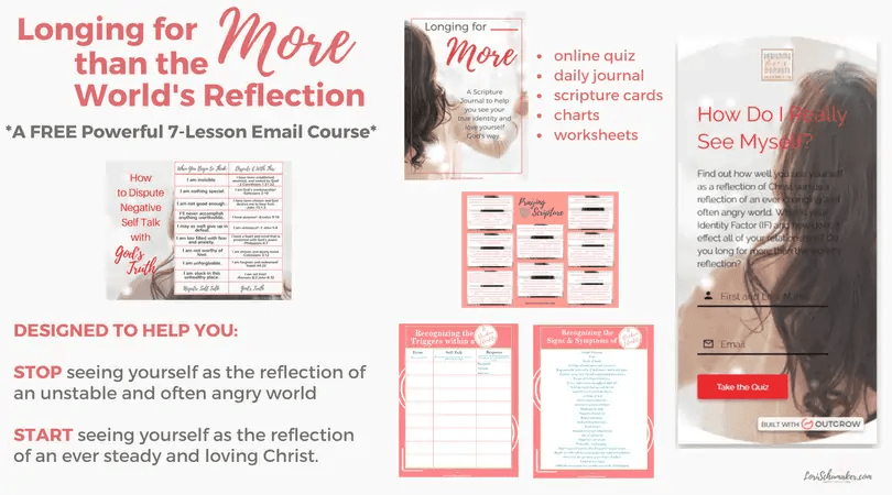Learn your Identity Factor, how it's affecting you, and then how to see yourself as more than the world's reflection | Join this free online Bible Course | #identityinChrist #identity #freeonlinecourse #journal #prayer #selfhelp #identity #selfworth #godslove #emailcourse #selftalk #holyconfidence