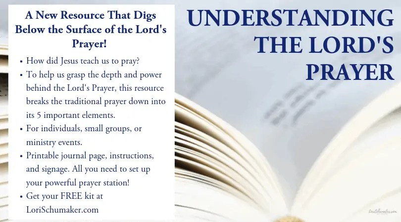 Do you or your ministry need a resource that helps you grasp the full meaning of the Lord's Prayer? This is a free practical and printable resource for individuals and ministry leaders. It includes a detailed worksheet/journal page, descriptive insight and Biblical background, and 6 printable event station posters with easy set-up instructions. | The Lord's Prayer Meaning #lordsprayer #prayer #powerofprayer #hope #prayerresource #ministryresource #printablekit