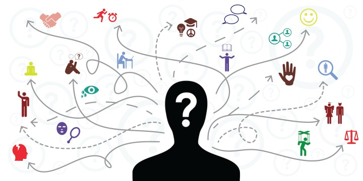 A person's head and shoulders in silhouette, with many different icons and paths drawn from those icons to the person's head. A question mark is in the middle of the person's face.