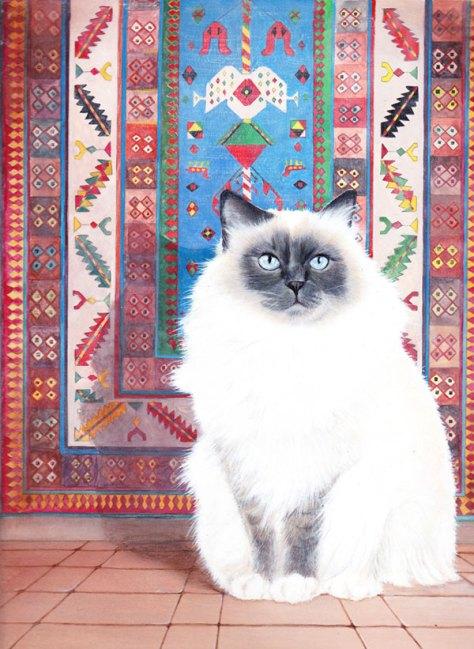 chat persan gouache