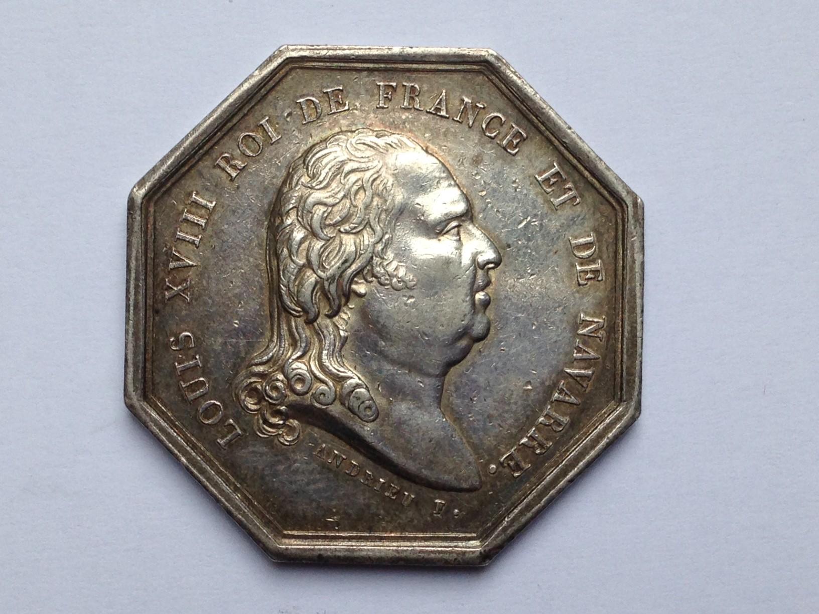JETR007 jeton octogonal en argent louis XVIII  Lorraine numismatique