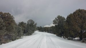 Snowy roads in Arizona