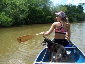 Kuma enjoys canoeing right behind his League City home