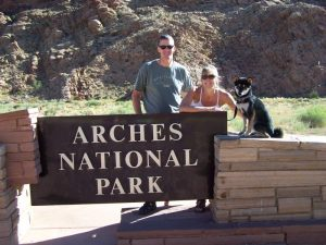 Kuma and his family at Arches National Park