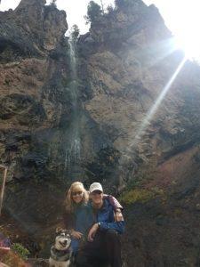 Kuma and his family at falls