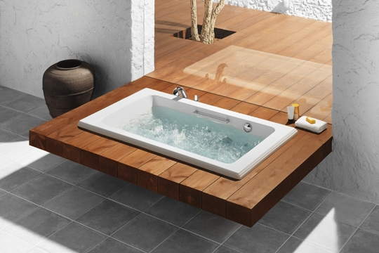 baignoire en bois style spa salle de