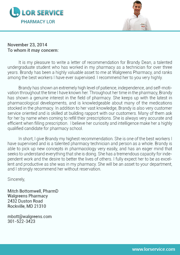 sample recommendation letter for dental school from