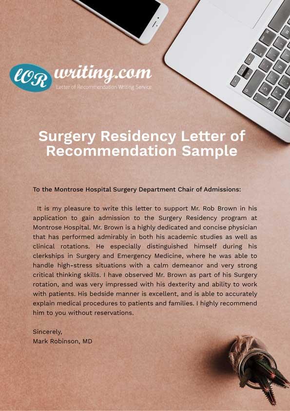sample letter of recommendation for medical residency
