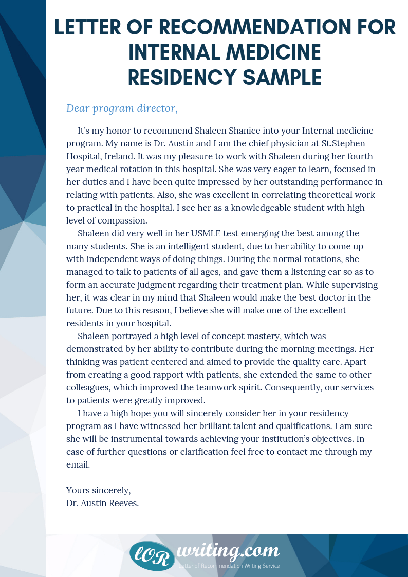 letter of recommendation sample template