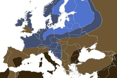 Mapa Ojos Azules en Europa