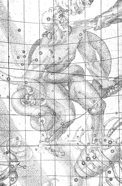 Dibujo de Kepler mostrando la ubicación de la Supernova 1604 en el pie derecho de Ophiuchus