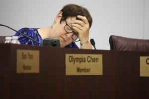 ABC School Board Member Celia Spitzer during Tuesday's heated meeting.  Randy Economy Photo