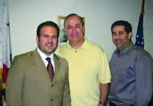 Questionable relationships: Montebello Mayor Jack Hadjinian stands with Chuck Calderon and Moe Minasian.