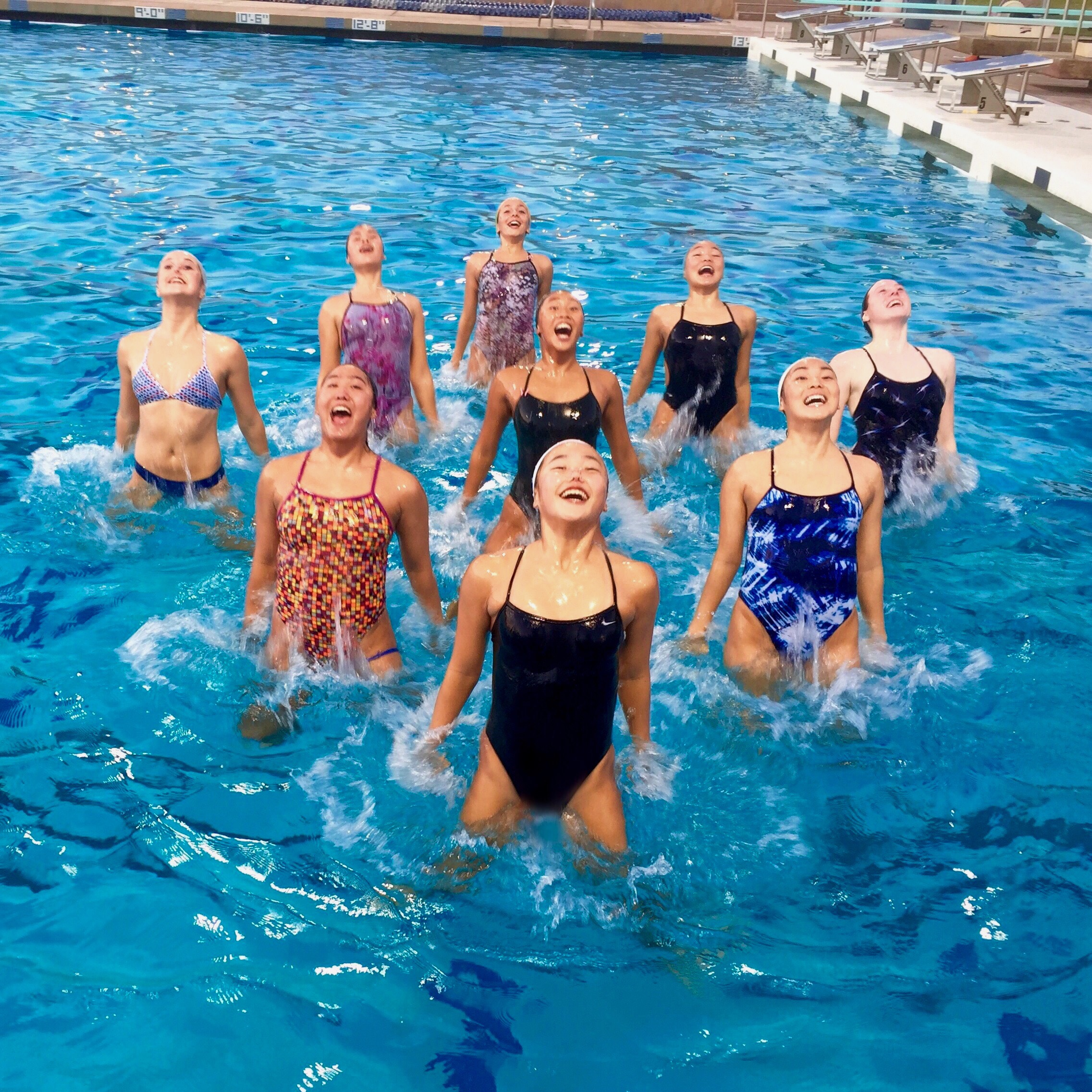 La Mirada Aquabelles Synchronized Swimming Team Jumps For Joy After  Completing Competing In The 2015 Synchronized