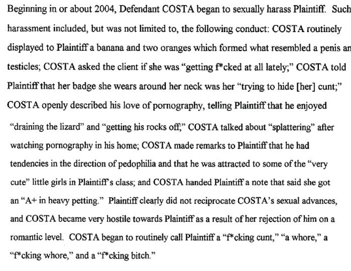 Page from the complaint filed by Kimsey, she later recanted everything.
