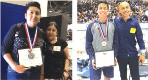 AWARD WINNERS: (l-r) 10th grader Juan Veliz with his mom, Maria Veliz. Veliz completed over 75 hours of service through after school snack sales on campus, park service, and various church events throughout the year. 11th grader Issac Edgar Barraza with his father, Edgar Barraza. Edgar completed his service at various events through his church during the school year.